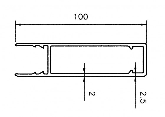 Overprofil 100mm 7.500mm anod - natur - B1002